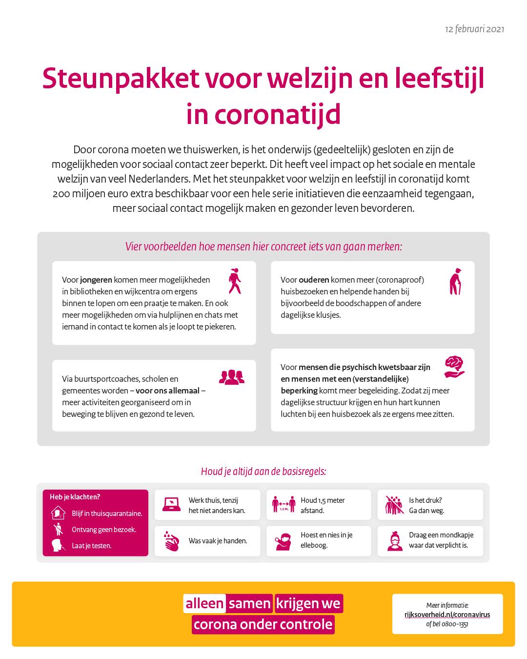 Kabinet stelt 200 miljoen euro beschikbaar voor welzijn in coronatijd - Rijksoverheid.nl
