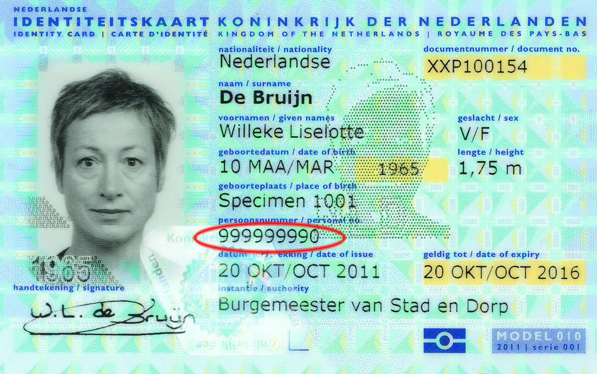 Example of BSN on Dutch identity cards