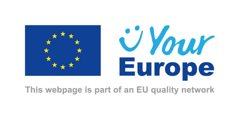 Logo van het EU portaal Your Europe met daaronder de tekst 'This webpage is part of an EU quality network'
