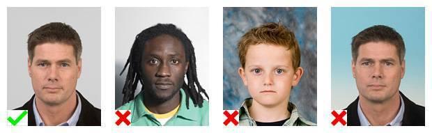 Voorbeelden van pasfoto's. 1 foto voldoet aan de eisen. Bij 3 foto's is de achtergrond niet goed.