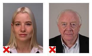 2 voorbeelden van pasfoto's waarvan de achtergrond niet aan de eisen voldoet.
