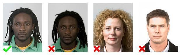 Voorbeelden van pasfoto's. 1 foto voldoet aan de eisen. Op 3 foto's is de belichting niet goed.