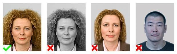Voorbeelden van pasfoto's. 1 foto voldoet aan de eisen. Van 3 foto's is de fotokwaliteit onvoldoende.