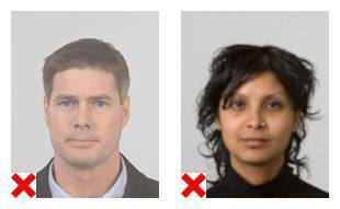 2 voorbeelden van pasfoto's waarvan de fotokwaliteit niet volgens de eisen is.