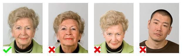 Voorbeelden van pasfoto's. 1 foto voldoet aan de eisen. Op 3 foto's is de lichaamshouding niet goed.