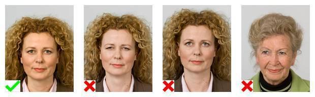 Voorbeelden van pasfoto's. 1 foto voldoet aan de eisen. Op 3 foto's is de gezichtsuitdrukking niet goed.