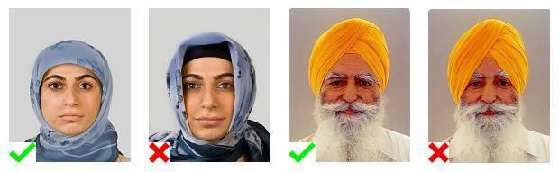 Voorbeelden van pasfoto's. 1 foto voldoet aan de eisen. Op 3 foto's is de hoofdbedekking onjuist aangebracht.