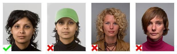 Voorbeelden van pasfoto's. 1 foto voldoet aan de eisen. Op 3 foto's is de weergave van het gezicht niet goed.