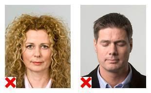 2 voorbeelden van pasfoto's waarop de weergave van het gezicht niet voldoet aan de eisen.