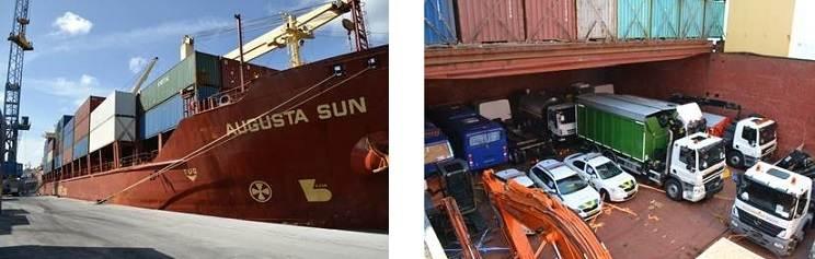 Foto's van het schip Augusta Sun met hulpgoederen voor Sint Maarten