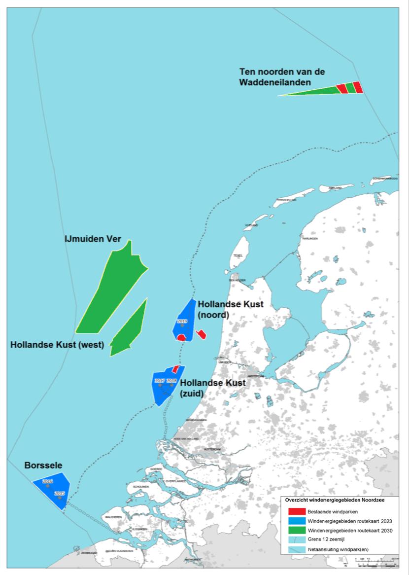 Het kabinet wil tussen 2024 en 2030 nieuwe windparken op de Noordzee bouwen die, samen met de andere windparken op zee, voldoende duurzame stroom opleveren voor 40% van ons huidige totale elektriciteitsverbruik. Dit staat in de 'Routekaart windenergie op zee 2030'.