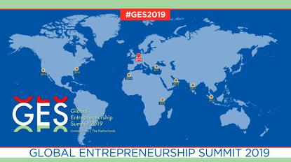 Kaart met locaties van de Global Entrepreneurship Summit (GES), in 2019 is die in Nederland.